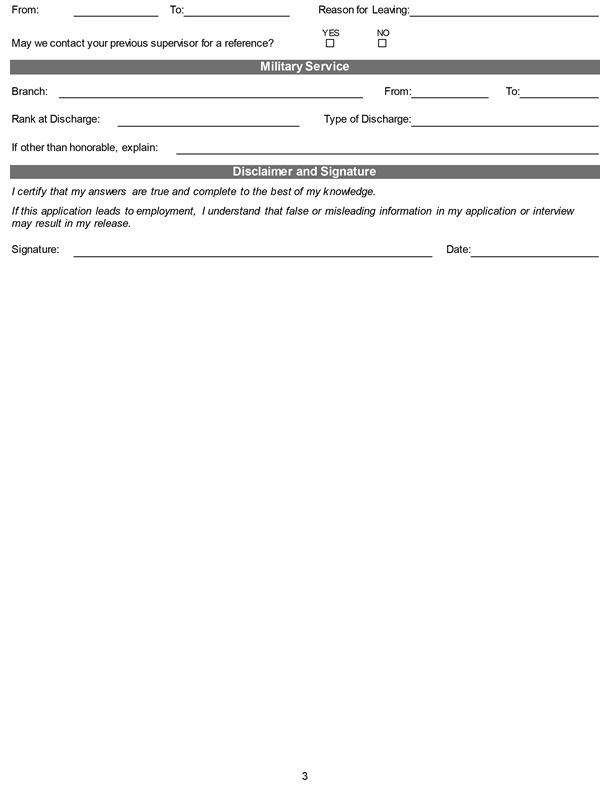 Printable Employment Application